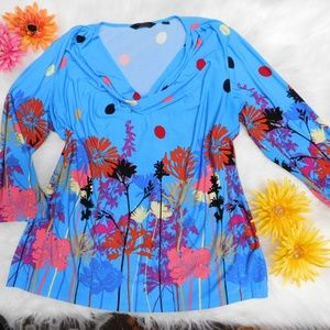 Beautiful Floral Blouse XL(p) Stretchy Tunic Top